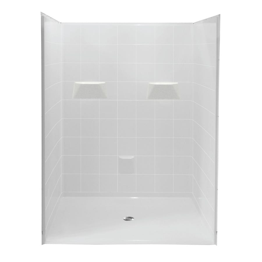 Laurel Mountain Viola Low Zero Threshold - Barrier Free White Acrylic Wall and Floor 5-Piece Alcove Shower Kit (Common: 60-in x 60-in; Actual: 78-in x 61-in x 60-in)
