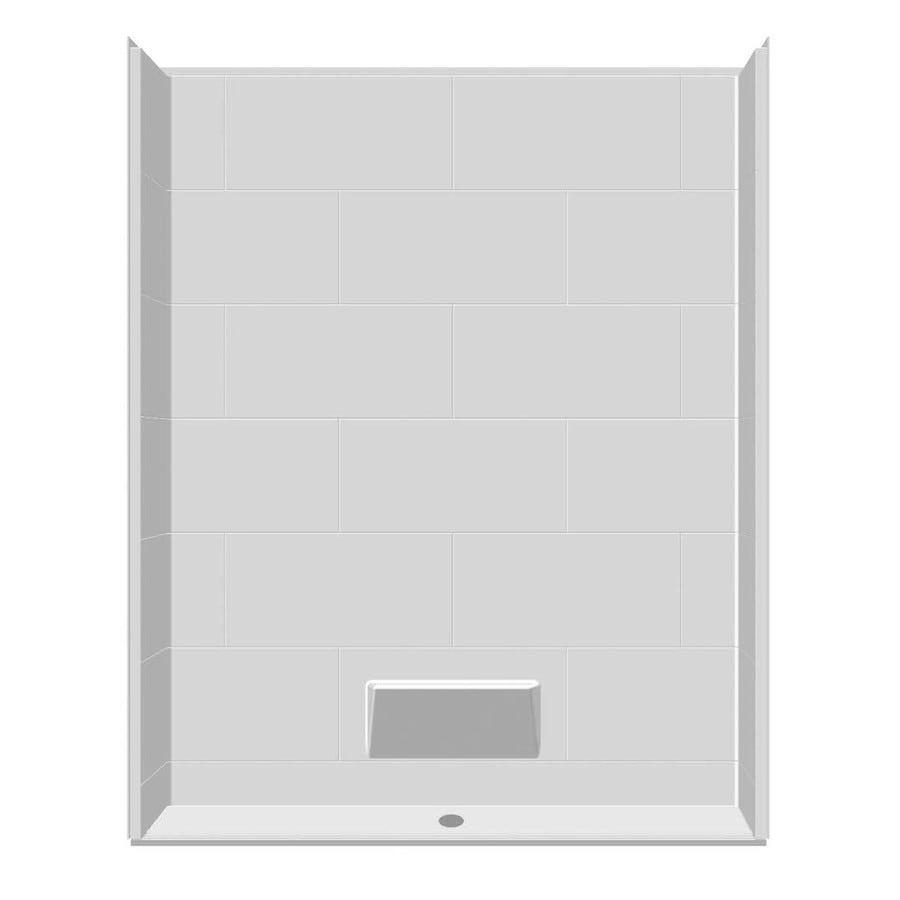 Laurel Mountain Rossville Low Zero Threshold - Barrier Free White Acrylic Wall and Floor 5-Piece Alcove Shower Kit (Common: 32-in x 60-in; Actual: 79-in x 33-in x 63-in)