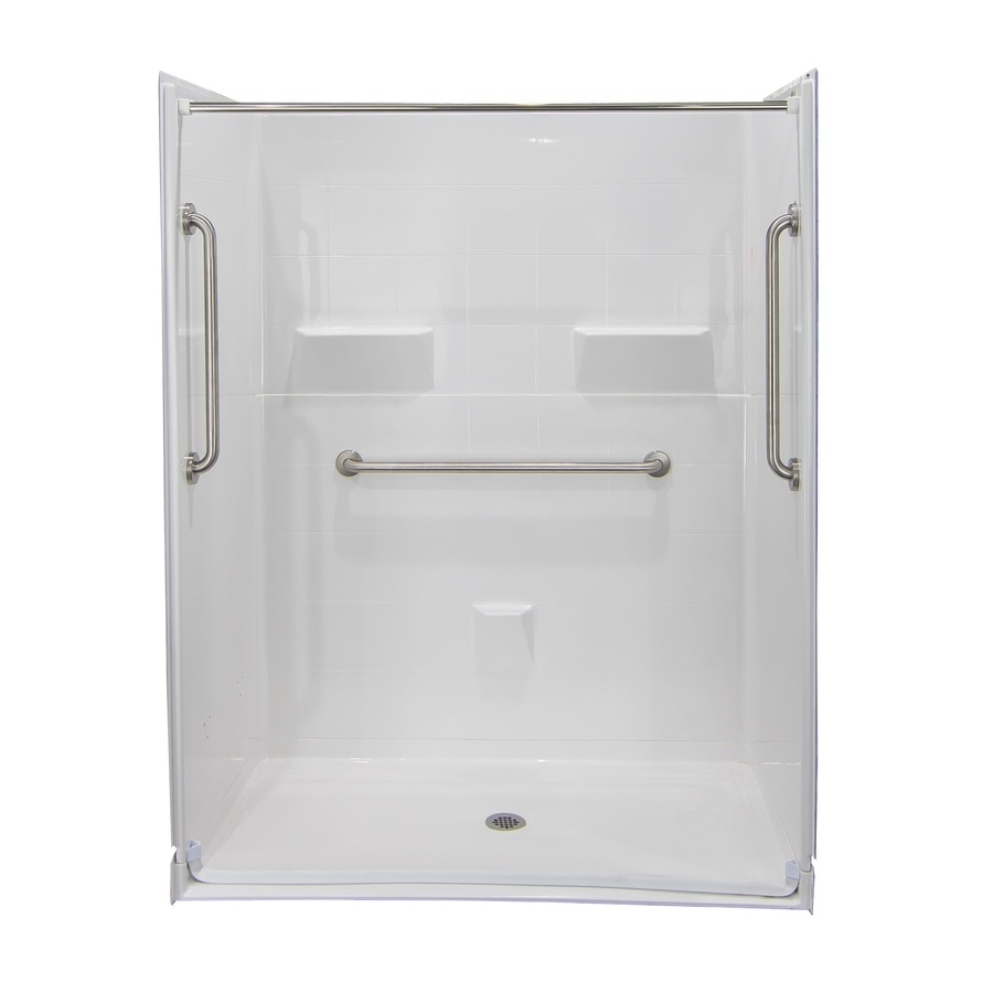 Laurel Mountain Sardis Ii Barrier Free Shower White Acrylic Wall and Floor 5-Piece Alcove Shower Kit (Common: 34-in x 60-in; Actual: 78-in x 34-in x 60-in)
