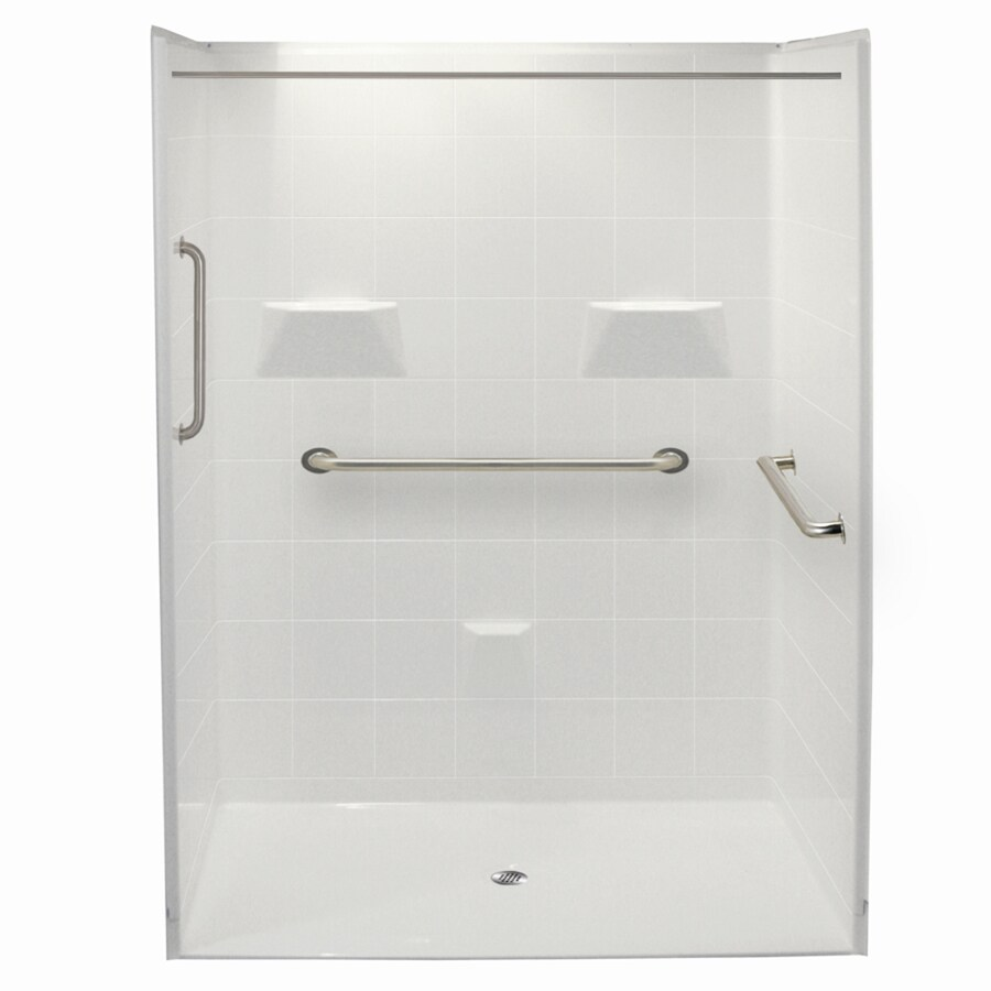Laurel Mountain Erwin Ii Barrier Free Shower White Acrylic Wall Acrylic Floor 5-Piece Alcove Shower Kit (Common: 36-in x 60-in; Actual: 78-in X