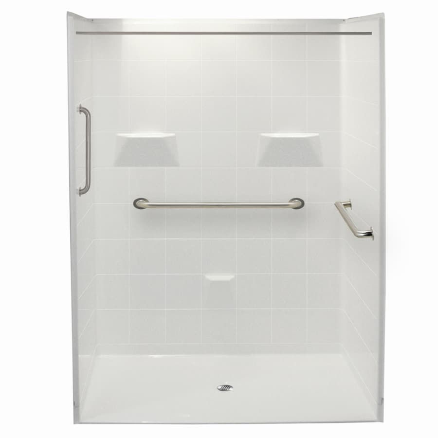Laurel Mountain Erwin Ii Barrier Free Shower White Acrylic Wall and Floor 5-Piece Alcove Shower Kit (Common: 36-in x 60-in; Actual: 78-in x 37-in x 60-in)