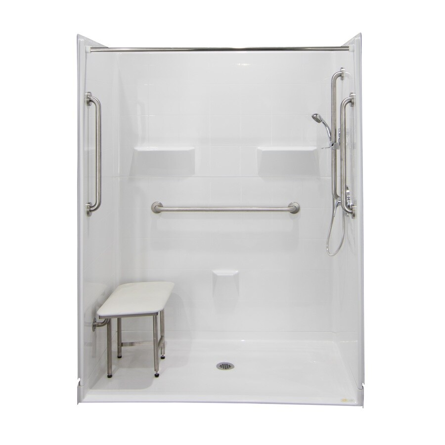 Laurel Mountain Erwin Iii Barrier Free Shower White Acrylic Wall and Floor 5-Piece Alcove Shower Kit (Common: 36-in x 60-in; Actual: 78-in x 37-in x 60-in)