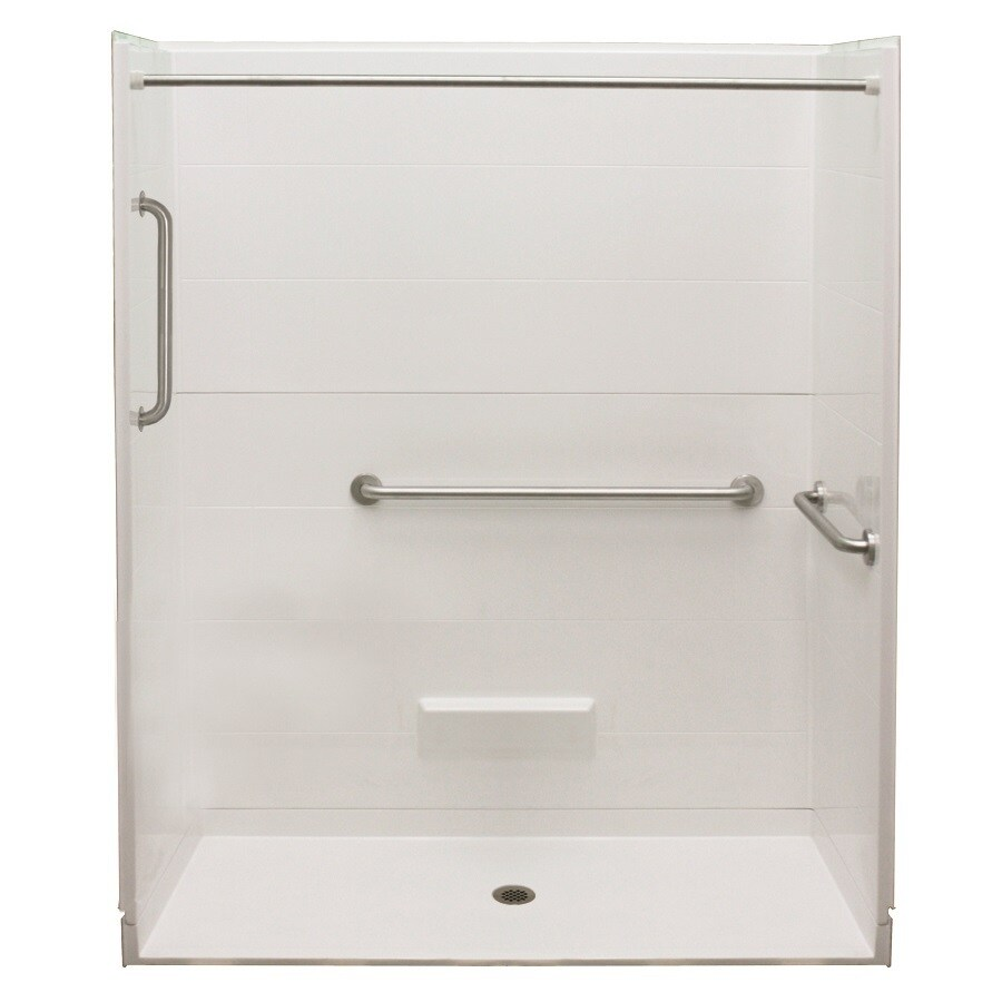 Laurel Mountain Rossville Ii Barrier Free Shower White Acrylic Wall and Floor 5-Piece Alcove Shower Kit (Common: 32-in x 63-in; Actual: 79-in x 33-in x 63-in)