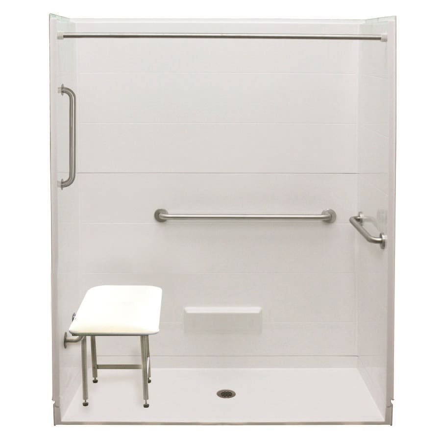 Laurel Mountain Rossville Iii Barrier Free Shower White Acrylic Wall and Floor 5-Piece Alcove Shower Kit (Common: 32-in x 63-in; Actual: 79-in x 33-in x 63-in)