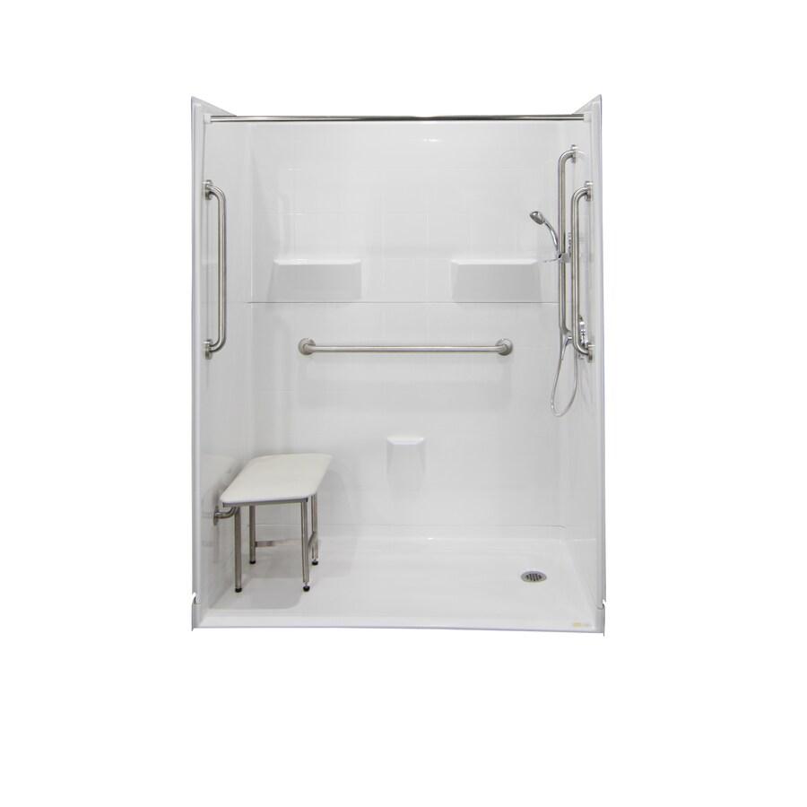 Laurel Mountain Williston Iii Barrier Free Shower White Gelcoat/Fiberglass Wall Gelcoat/Fiberglass Floor 5-Piece Alcove Shower Kit (Common: 33-in x 60-in; Actual: 78-in X