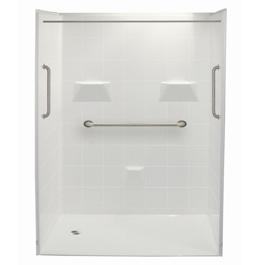 Laurel Mountain Williston Ii Barrier Free Shower White Gelcoat/Fiberglass Wall Gelcoat/Fiberglass Floor 5-Piece Alcove Shower Kit (Common: 33-in x 60-in; Actual: 78-in X