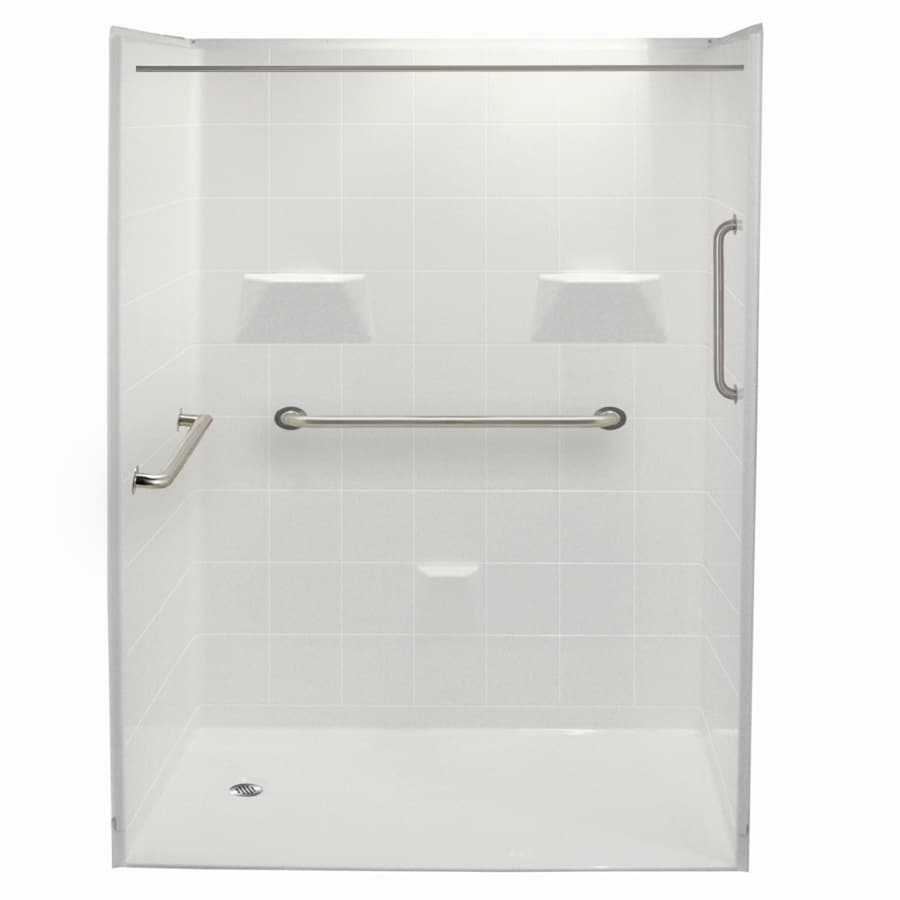 Laurel Mountain Gleason Ii Barrier Free Shower White Gelcoat/Fiberglass Wall Gelcoat/Fiberglass Floor 5-Piece Alcove Shower Kit (Common: 36-in x 60-in; Actual: 78-in X