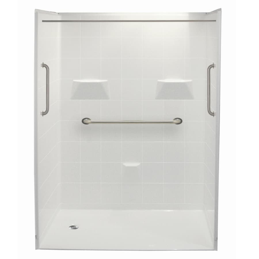 Laurel Mountain Jakeston Ii Barrier Free Shower White Acrylic Wall Acrylic Floor 5-Piece Alcove Shower Kit (Common: 30-in x 60-in; Actual: 78-in X
