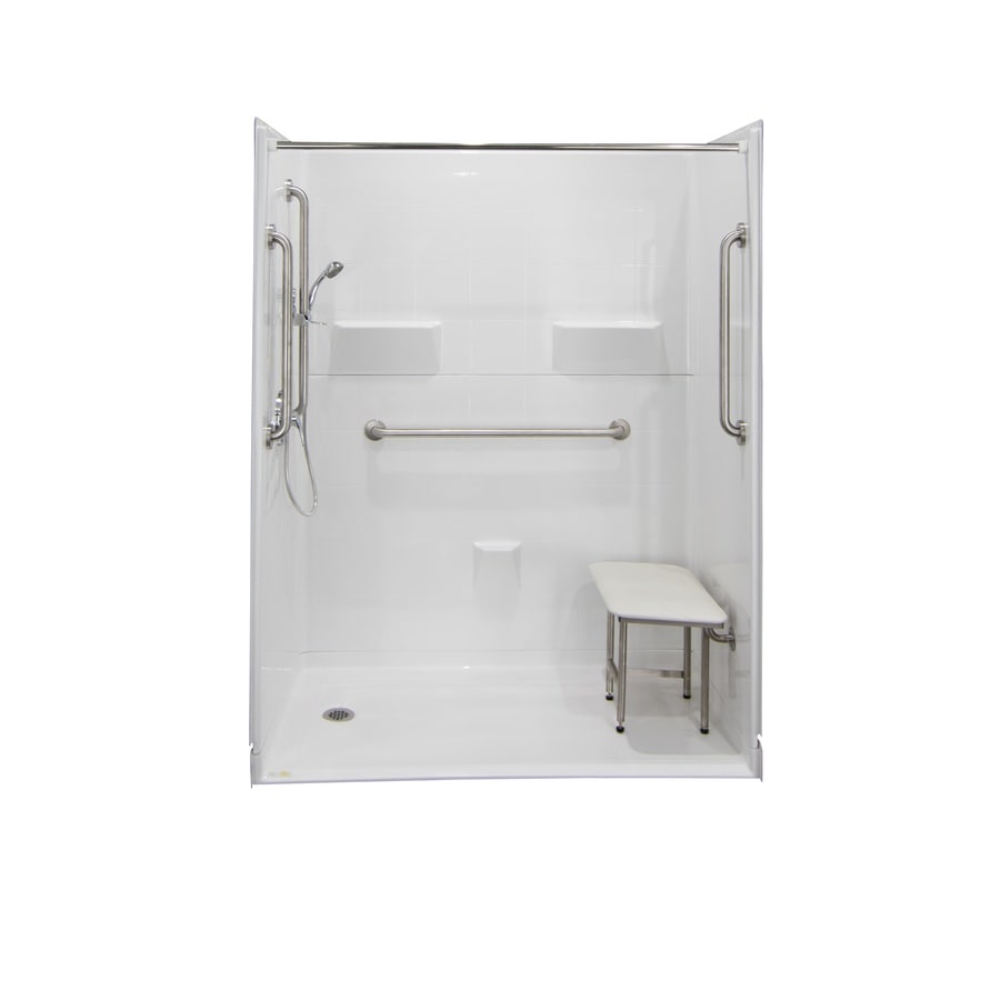 Laurel Mountain Jakeston Iii Barrier Free Shower White Gelcoat/Fiberglass Wall Gelcoat/Fiberglass Floor 5-Piece Alcove Shower Kit (Common: 30-in x 60-in; Actual: 78-in X