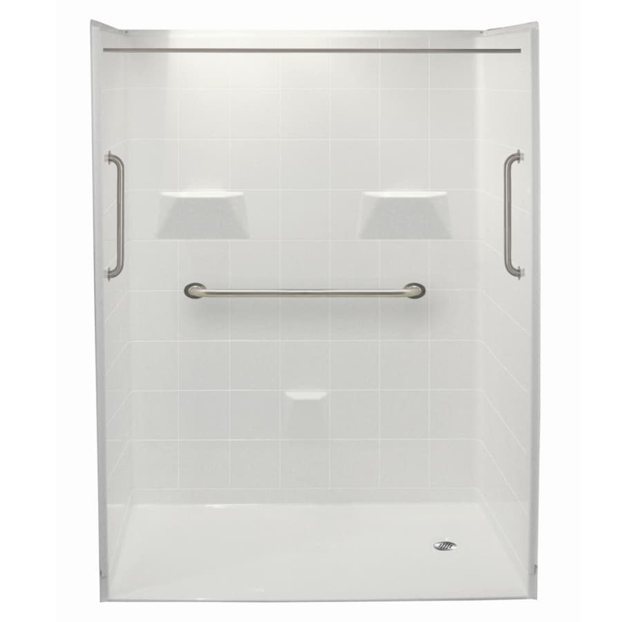 Laurel Mountain Jakeston Ii Barrier Free Shower White Acrylic Wall and Floor 5-Piece Alcove Shower Kit (Common: 30-in x 60-in; Actual: 78-in x 31-in x 60-in)