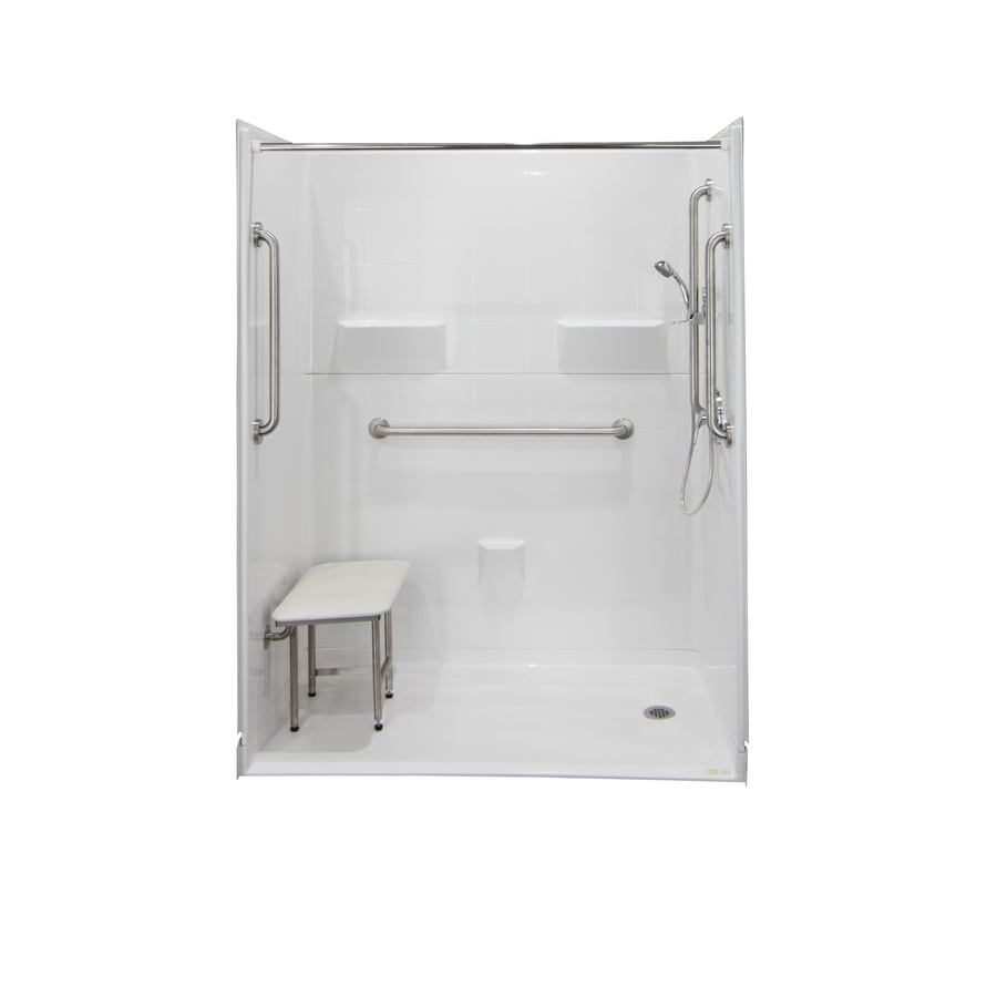 Laurel Mountain Jakeston Iii Barrier Free Shower White Gelcoat/Fiberglass Wall Gelcoat/Fiberglass Floor 5-Piece Alcove Shower Kit (Common: 30-in x 60-in; Actual: 78-in X
