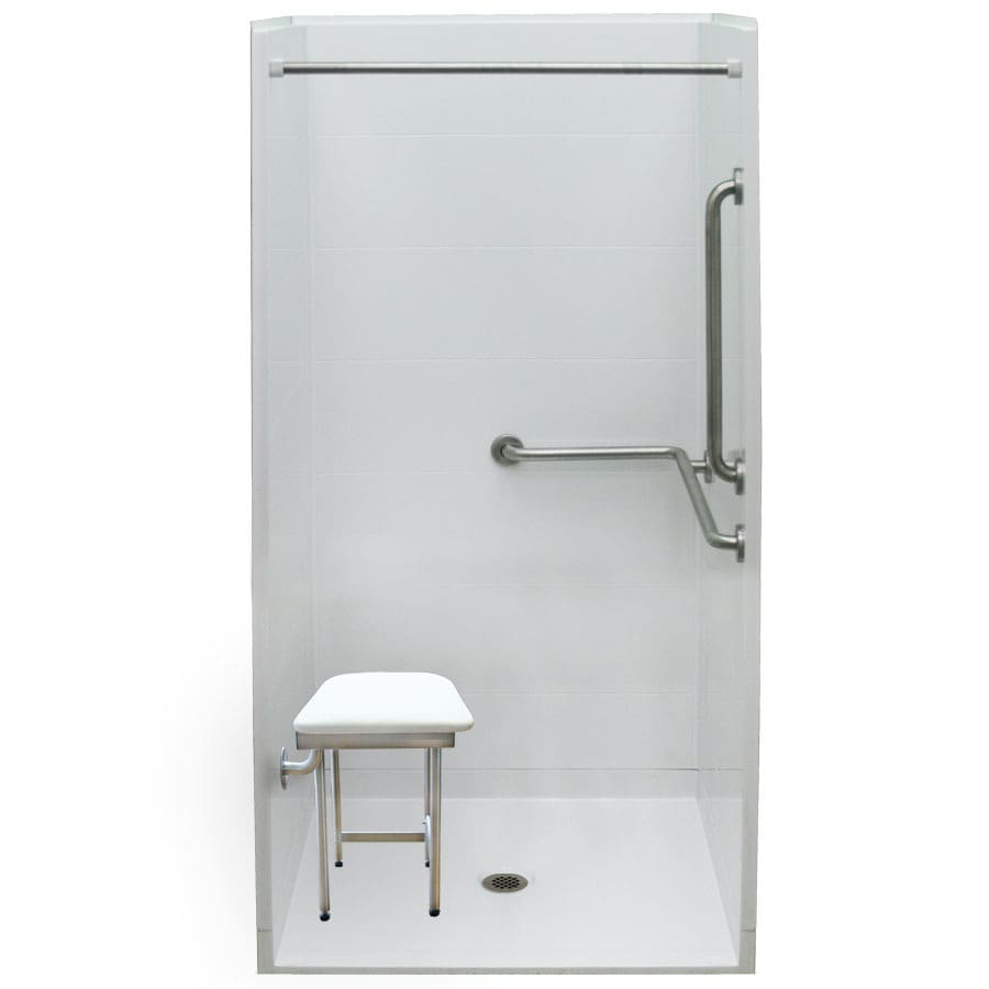 Laurel Mountain Ardmore Iii Barrier Free Shower White Acrylic Wall and Floor 4-Piece Alcove Shower Kit (Common: 40-in x 40-in; Actual: 79-in x 39-in x 39-in)