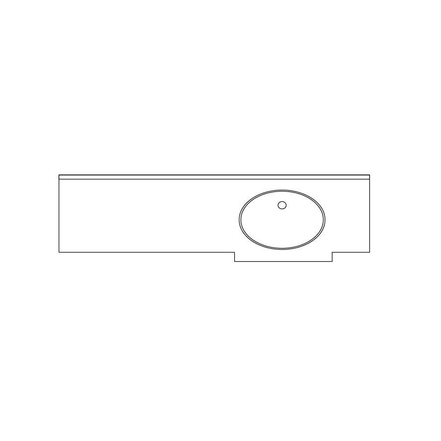 US Marble Marquee Evercor Apollo Solid Surface Undermount Bathroom Vanity Top (Common: 61-in x 24-in; Actual: 66.5-in x 23.25-in)