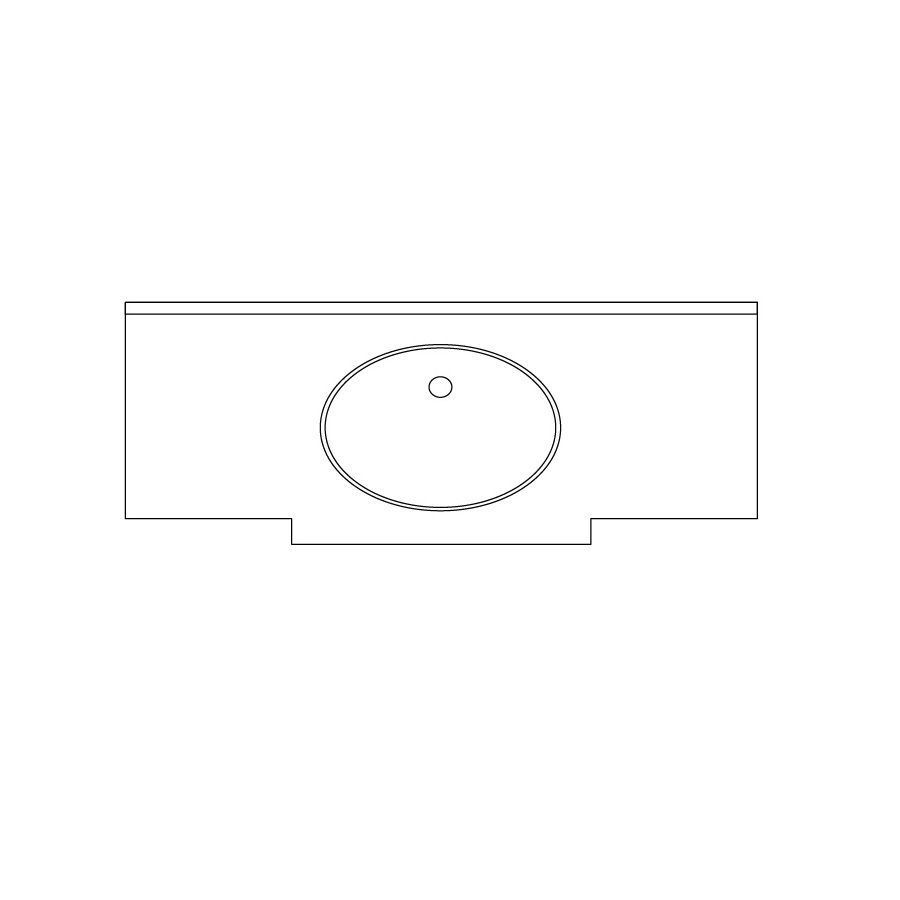 US Marble Marquee Cultured Marble Tender Gray On White Cultured Marble Undermount Bathroom Vanity Top (Common: 61-in x 24-in; Actual: 60-in x 23.25-in)