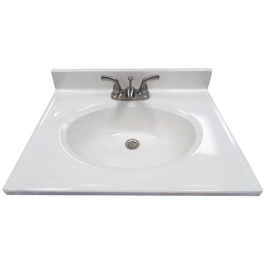 US Marble Ambassador 101 - White On White Cultured Marble Integral Bathroom Vanity Top (Common: 25-in x 19-in; Actual: 25-in x 19-in)