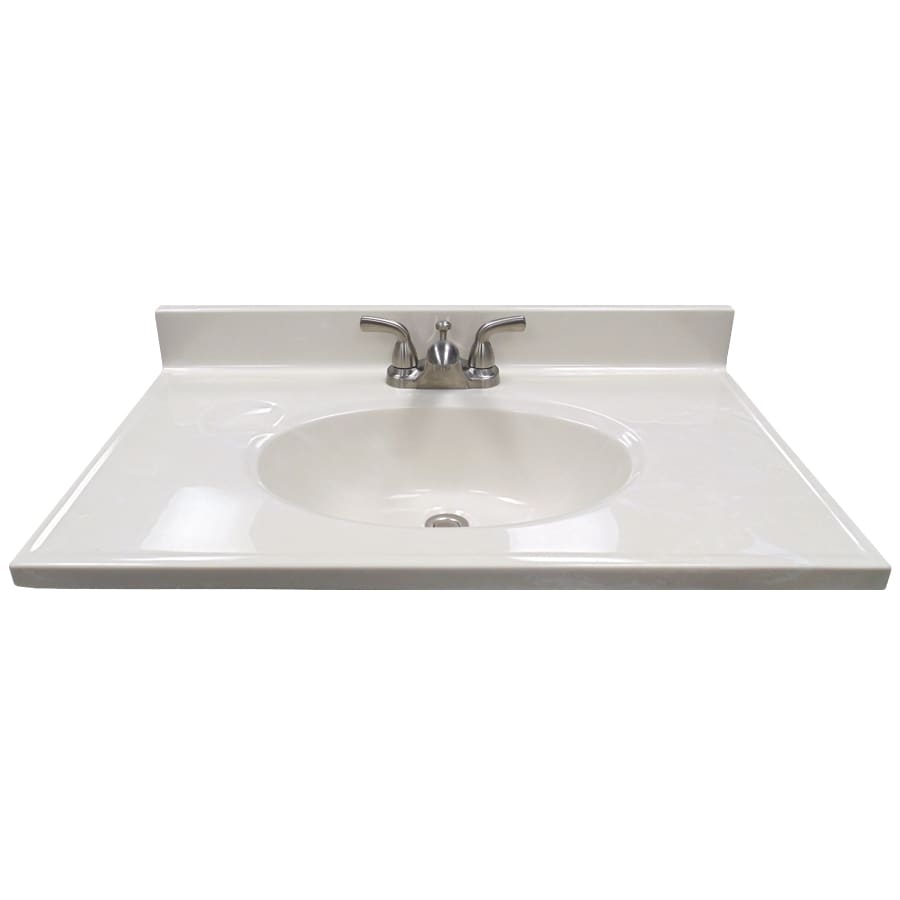US Marble Ambassador 101- White On White Cultured Marble Integral Bathroom Vanity Top (Common: 31-in x 19-in; Actual: 31-in x 19-in)