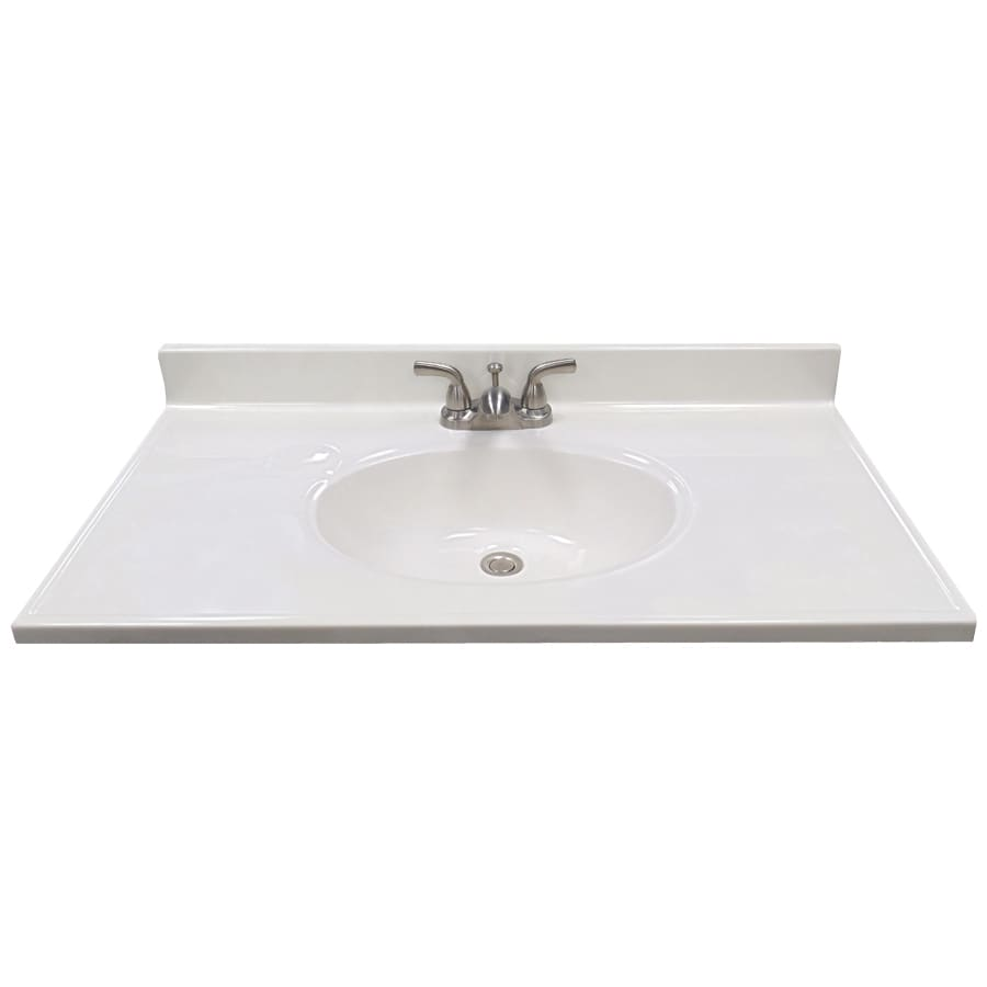 US Marble Ambassador 101 - White On White Cultured Marble Integral Bathroom Vanity Top (Common: 37-in x 19-in; Actual: 37-in x 19-in)