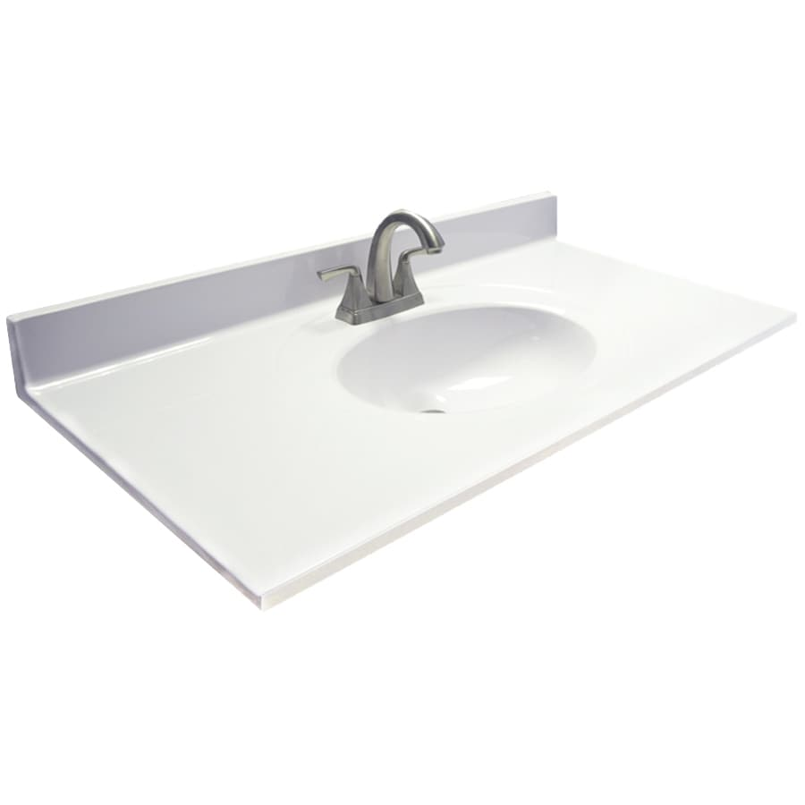 US Marble Ambassador White on White Cultured Marble Integral Single Sink Bathroom Vanity Top (Common