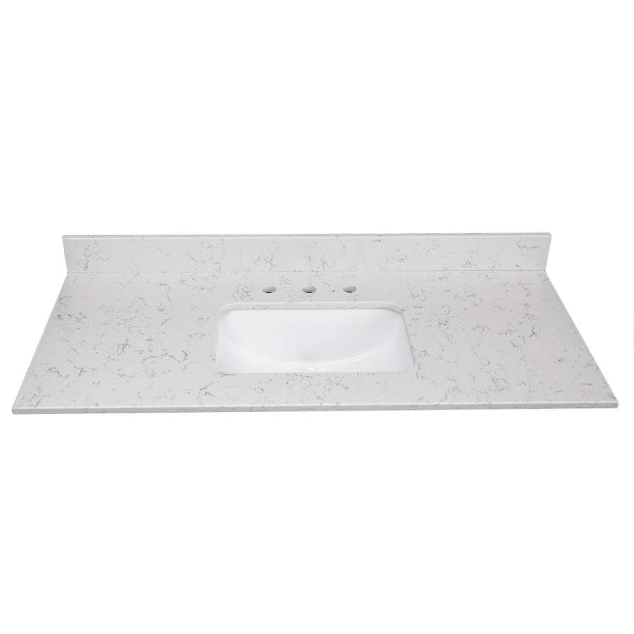 US Marble Arctic Carrara Quartz Undermount Single Sink Bathroom Vanity Top (Common: 37-in x 22-in; Actual: 37-in x 22.25-in)