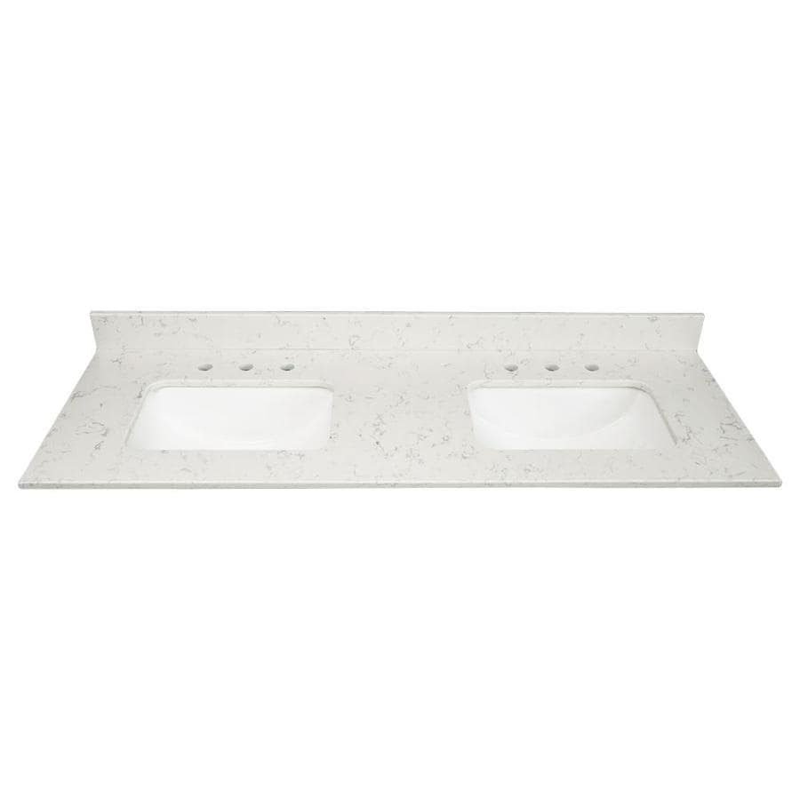 US Marble Arctic Carrara Quartz Undermount Double Sink Bathroom Vanity Top  (Common: 61