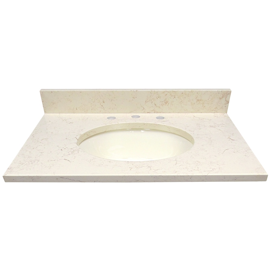 Shop us marble giallo beige quartz undermount single sink for Bathroom quartz vanity tops