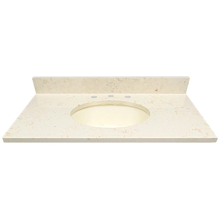 US Marble Giallo Beige Quartz Undermount Single Sink Bathroom Vanity Top (Common: 37-in x 22-in; Actual: 37-in x 22-in)