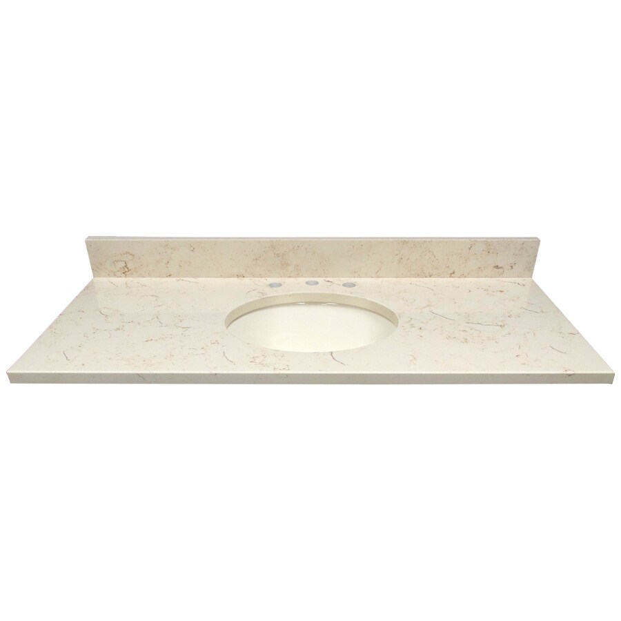 US Marble Giallo Beige Quartz Undermount Single Sink Bathroom Vanity Top (Common: 49-in x 22-in; Actual: 49-in x 22-in)