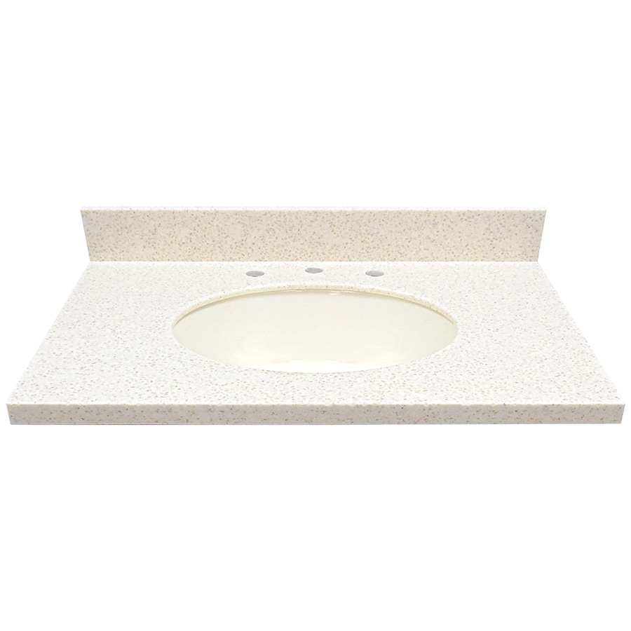 US Marble Coley Solid Surface Undermount Single Sink Bathroom Vanity Top (Common: 31-in x 22-in; Actual: 31-in x 22-in)