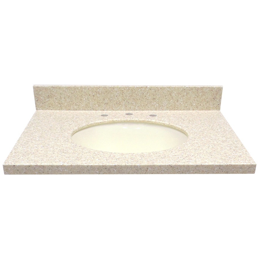 US Marble EC Wheat Solid Surface Undermount Single Sink Bathroom Vanity Top (Common: 31-in x 22-in; Actual: 31-in x 22-in)