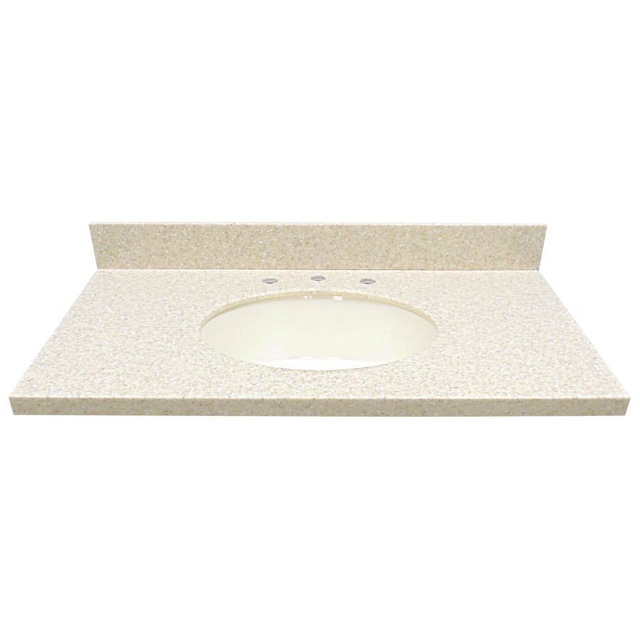US Marble EC Wheat Solid Surface Undermount Single Sink Bathroom Vanity Top (Common: 37-in x 22-in; Actual: 37-in x 22-in)