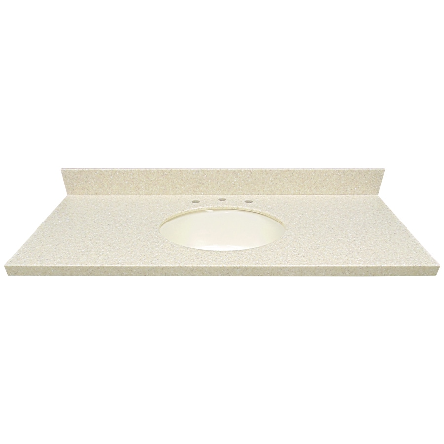 US Marble EC Wheat Solid Surface Undermount Single Sink Bathroom Vanity Top (Common: 49-in x 22-in; Actual: 49-in x 22-in)