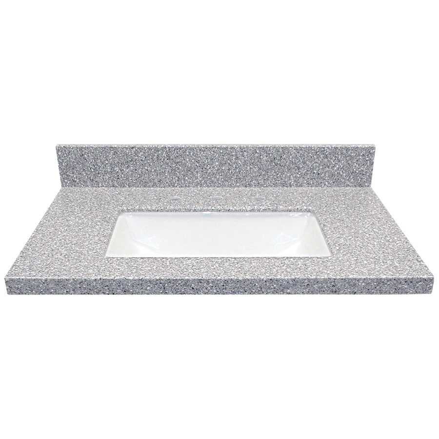 US Marble EC Rushmore Solid Surface Undermount Single Sink Bathroom Vanity Top (Common: 31-in x 22-in; Actual: 31-in x 22-in)