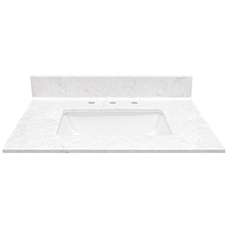 Shop Us Marble Steel Gray On White Cultured Marble Undermount Single Sink Bathroom Vanity Top