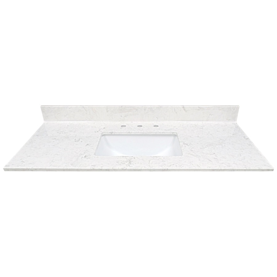 US Marble Steel Gray On White  Gloss Cultured Marble Undermount Single Sink  Bathroom Vanity Top