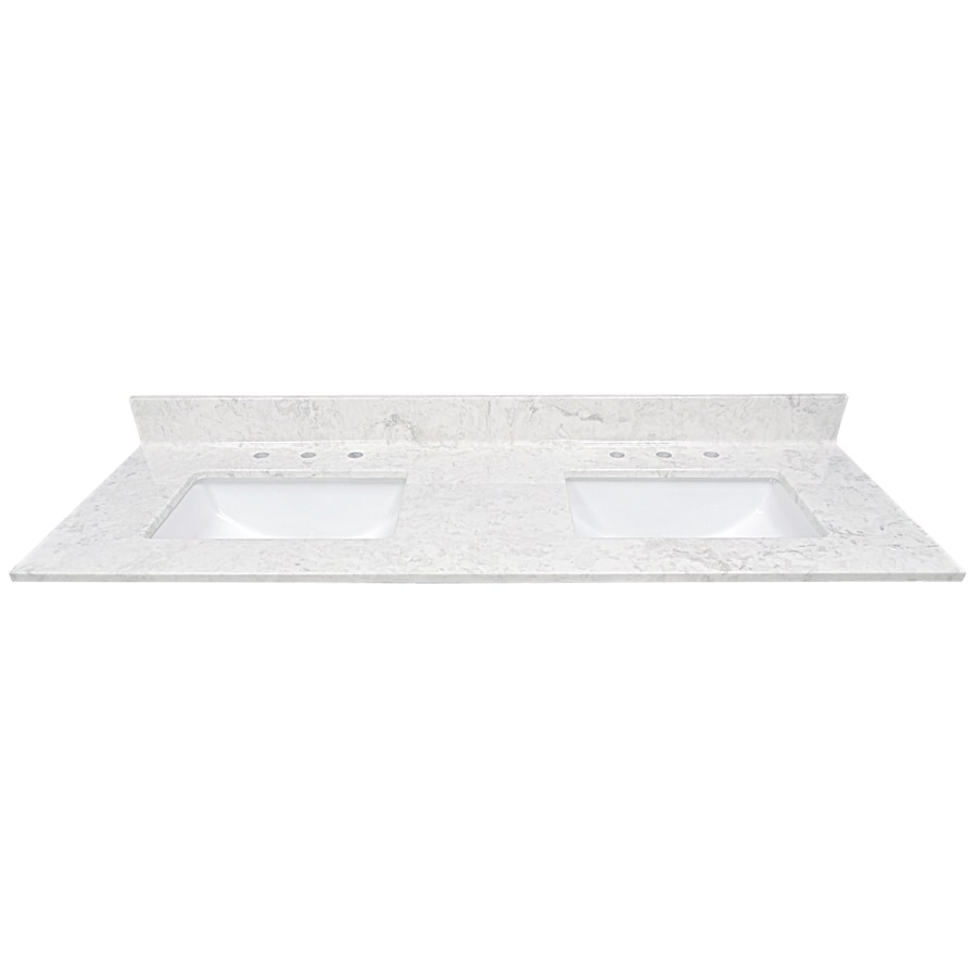 US Marble Steel Grey On White Cultured Marble Undermount Double Sink Bathroom Vanity Top (Common: 61-in x 22-in; Actual: 61-in x 22-in)