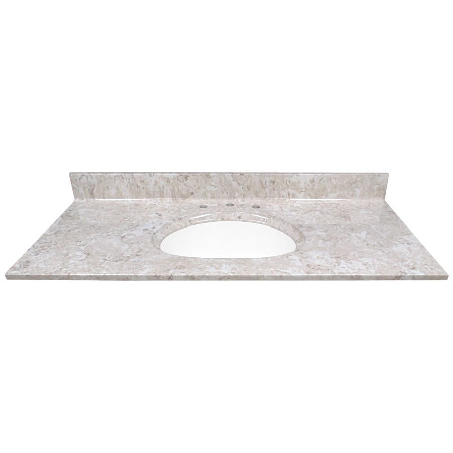US Marble Brown On White Cultured Marble Integral Single Sink Bathroom Vanity Top (Common: 49-in x 22-in; Actual: 49-in x 22-in)