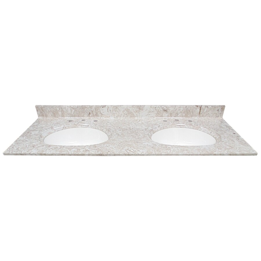 US Marble Brown On White Cultured Marble Integral Bathroom Vanity Top (Common: 61-in x 22-in; Actual: 61-in x 22-in)