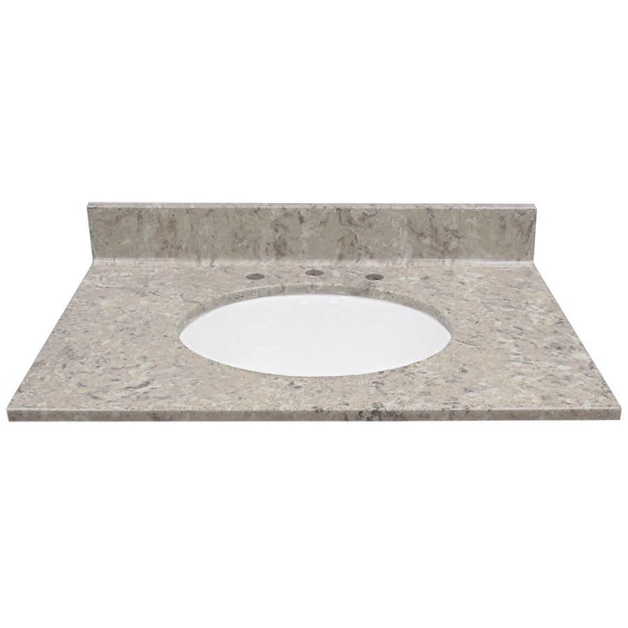 US Marble River Bottom Cultured Marble Undermount Single Sink Bathroom Vanity Top (Common: 31-in x 22-in; Actual: 31-in x 22-in)