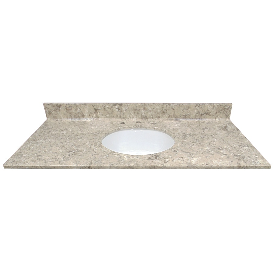 Shop us marble river bottom cultured marble undermount single sink bathroom vanity top common - Cultured marble bathroom vanity tops ...