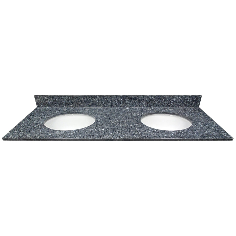 US Marble Blue Pearl Granite Undermount Double Sink Bathroom Vanity Top (Common: 61-in x 22-in; Actual: 61-in x 22.25-in)