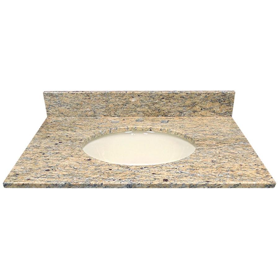 US Marble Santa Cecilia Granite Undermount Single Sink Bathroom Vanity Top (Common: 31-in x 22-in; Actual: 31-in x 22.25-in)