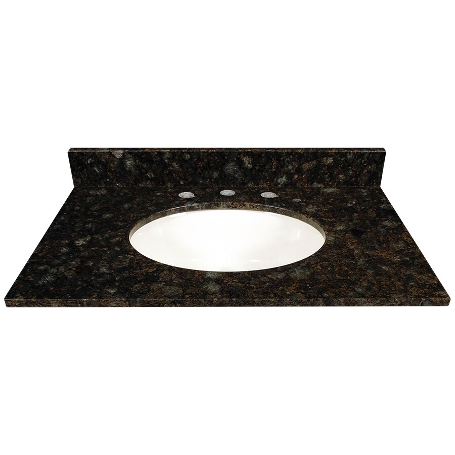 US Marble Verde Butterfly Granite Undermount Single Sink Bathroom Vanity Top (Common: 31-in x 22-in; Actual: 31-in x 22.25-in)