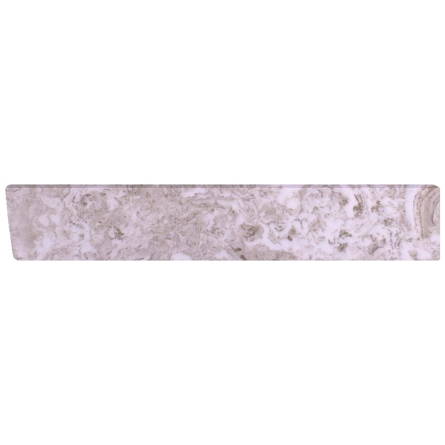 US Marble 422-in L Brown on White Bathroom Side Splash