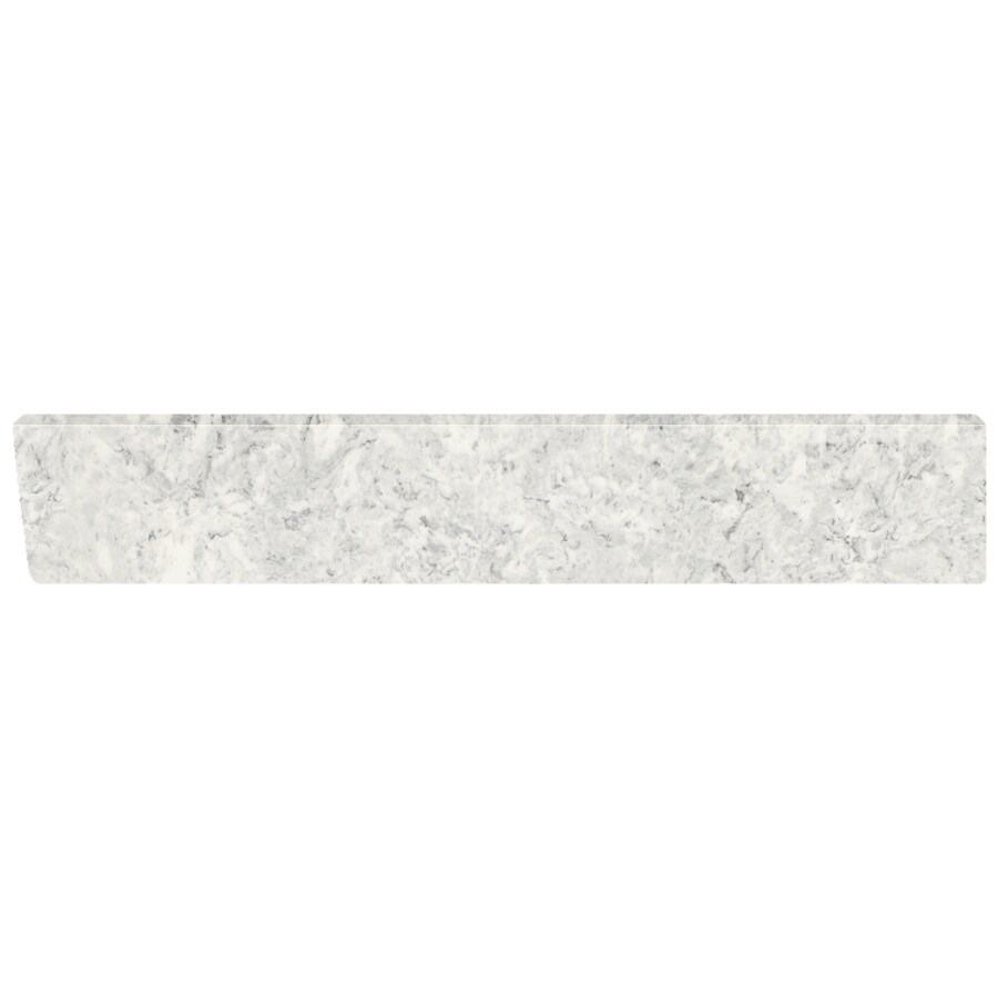 US Marble 4-in H x 21.25-in L Gray on White Bathroom Side Splash