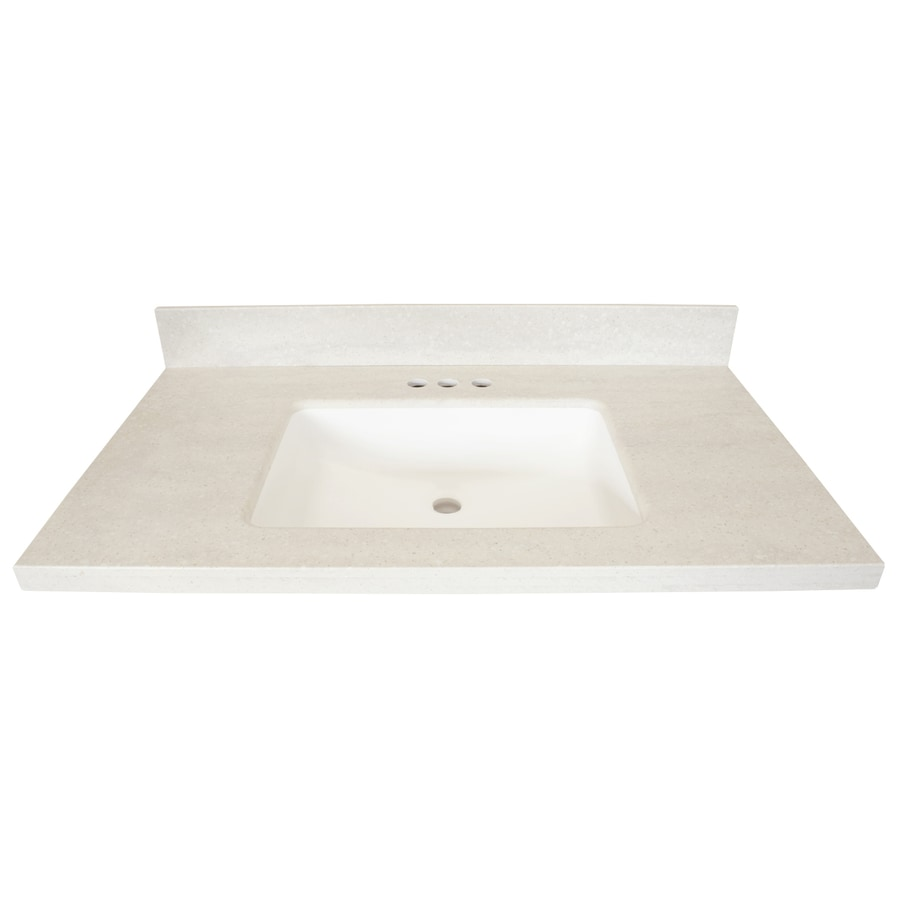 US Marble Veined Solid Surface Oyster Bay Solid Surface Integral Bathroom Vanity Top (Common: 37-in x 22-in; Actual: 37-in x 22-in)