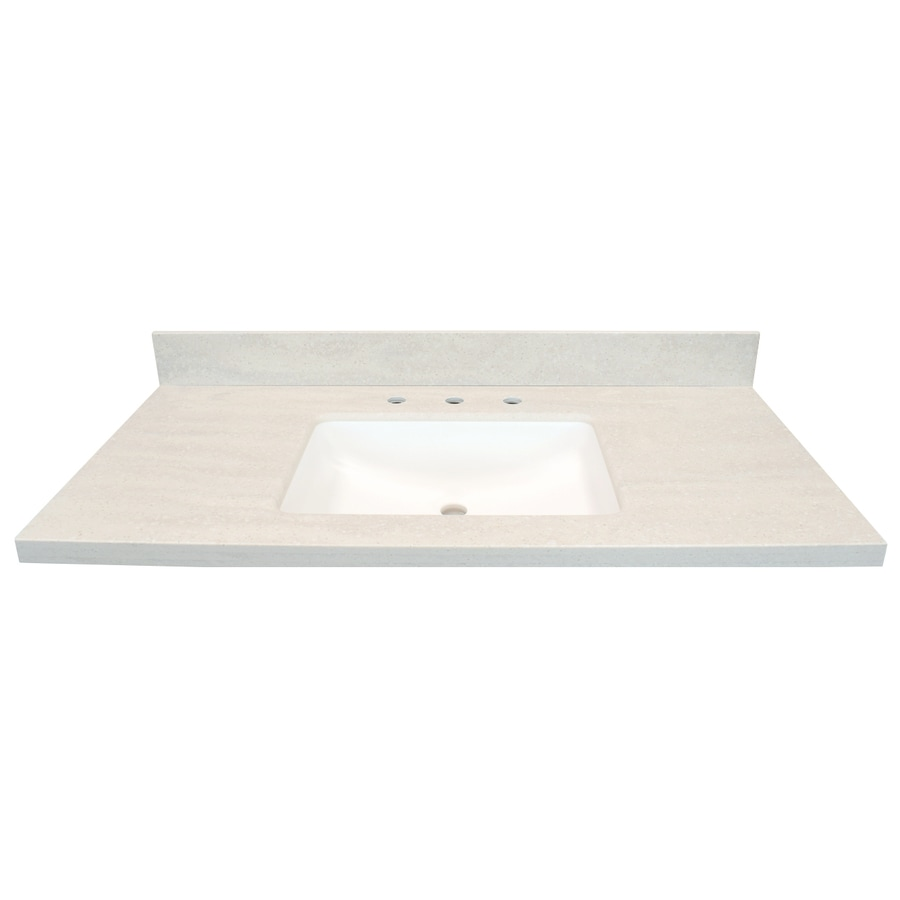 US Marble Veined Solid Surface Tops EC Oyster Bay Solid Surface Integral Single Sink Bathroom Vanity Top (Common: 43-in x 22-in; Actual: 43-in x 22-in)