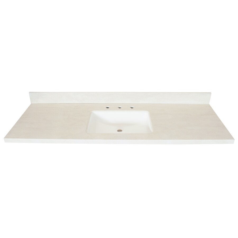 US Marble Veined Solid Surface Oyster Bay Solid Surface Integral Bathroom Vanity Top (Common: 61-in x 22-in; Actual: 61-in x 22-in)