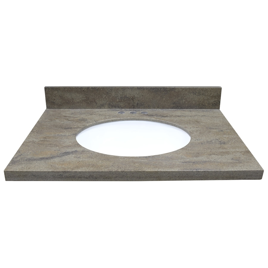 US Marble Veined Solid Surface Tops EC Java Ridge Solid Surface Undermount Single Sink Bathroom Vanity Top (Common: 31-in x 22-in; Actual: 31-in x 22-in)