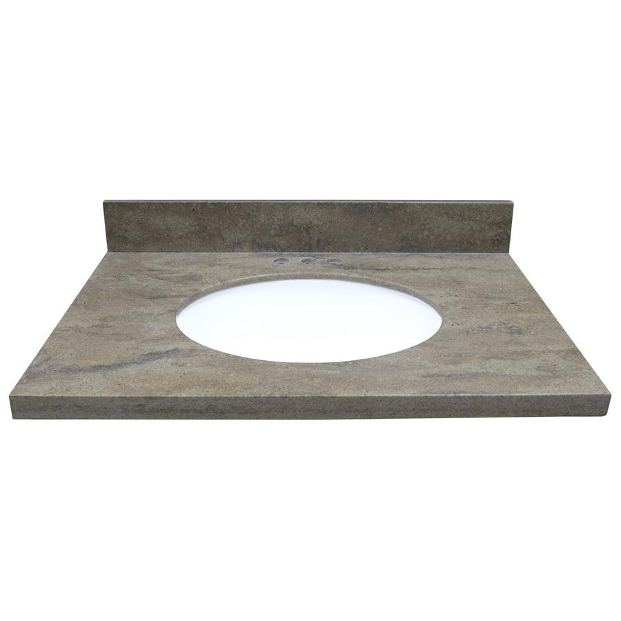 US Marble Veined Solid Surface Tops EC Java Ridge Solid Surface Undermount Single Sink Bathroom Vanity Top (Common: 31-in x 22-in; Actual: 31-in x 22-in)