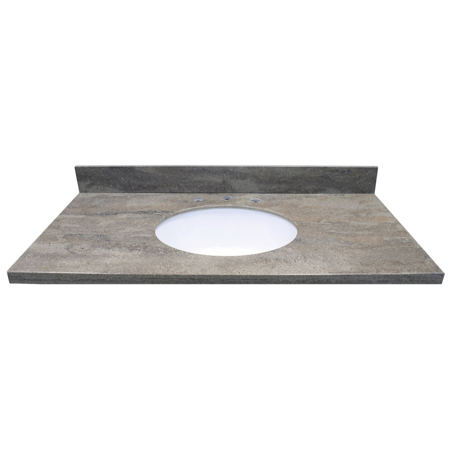 US Marble Veined Solid Surface Java Ridge Solid Surface Undermount Bathroom Vanity Top (Common: 43-in x 22-in; Actual: 43-in x 22-in)